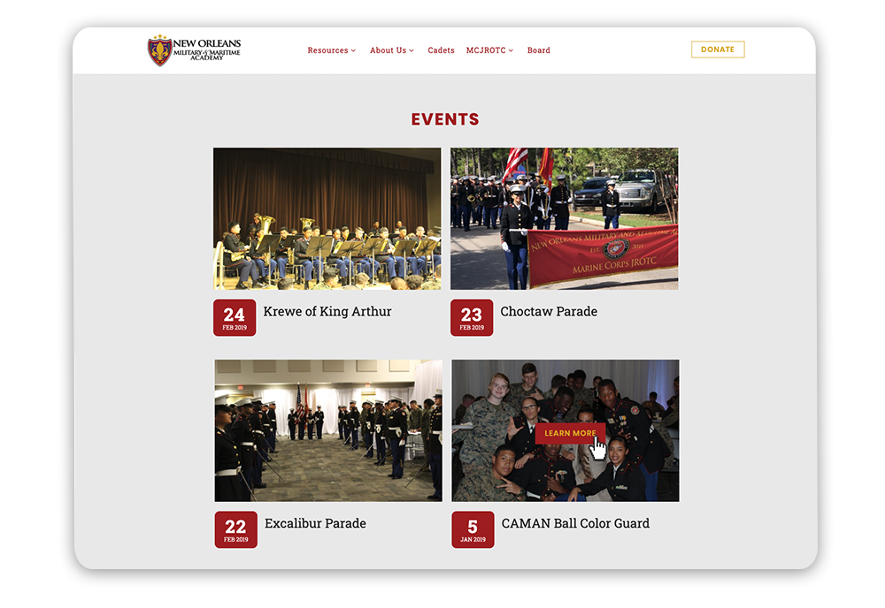 Nonprofit web design tip: Featured upcoming events nonprofit website example