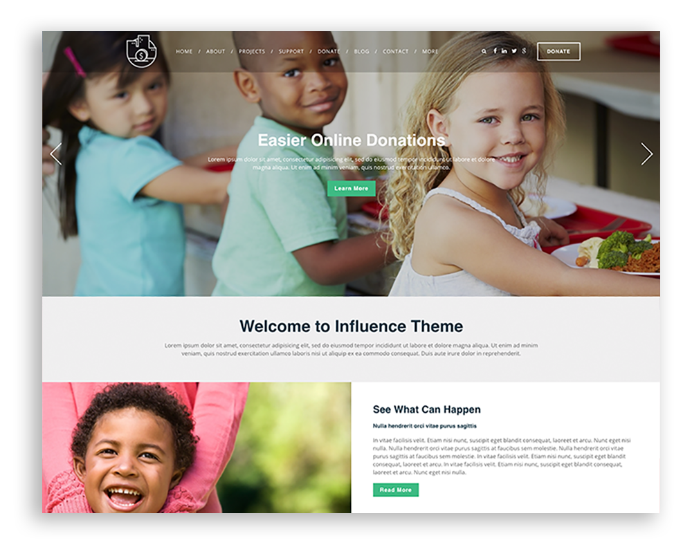 Nonprofit website theme example