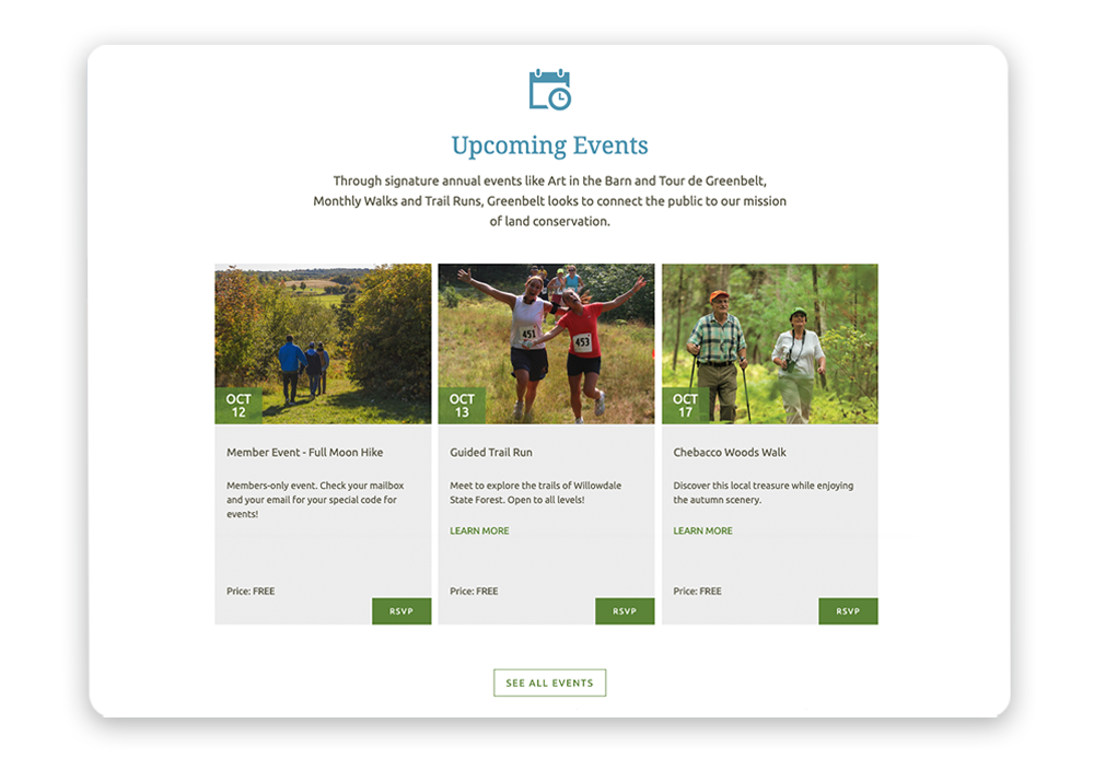 Displaying upcoming events on your homepage where they're easy to find is a nonprofit website design best practice.