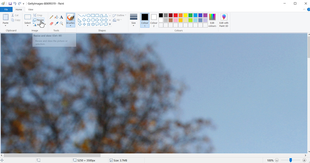 Resize image in Paint