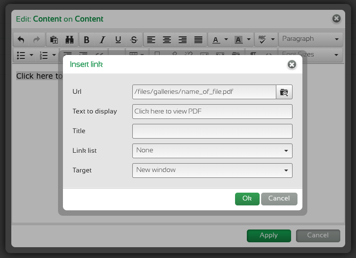 Morweb text editor: adding a URL