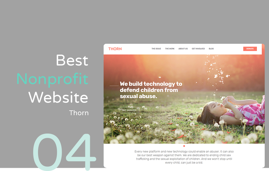 Best nonprofit website example: Thorn