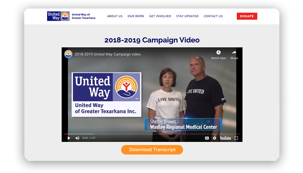 Nonprofit website example of a video with a button to download a transcript of the video