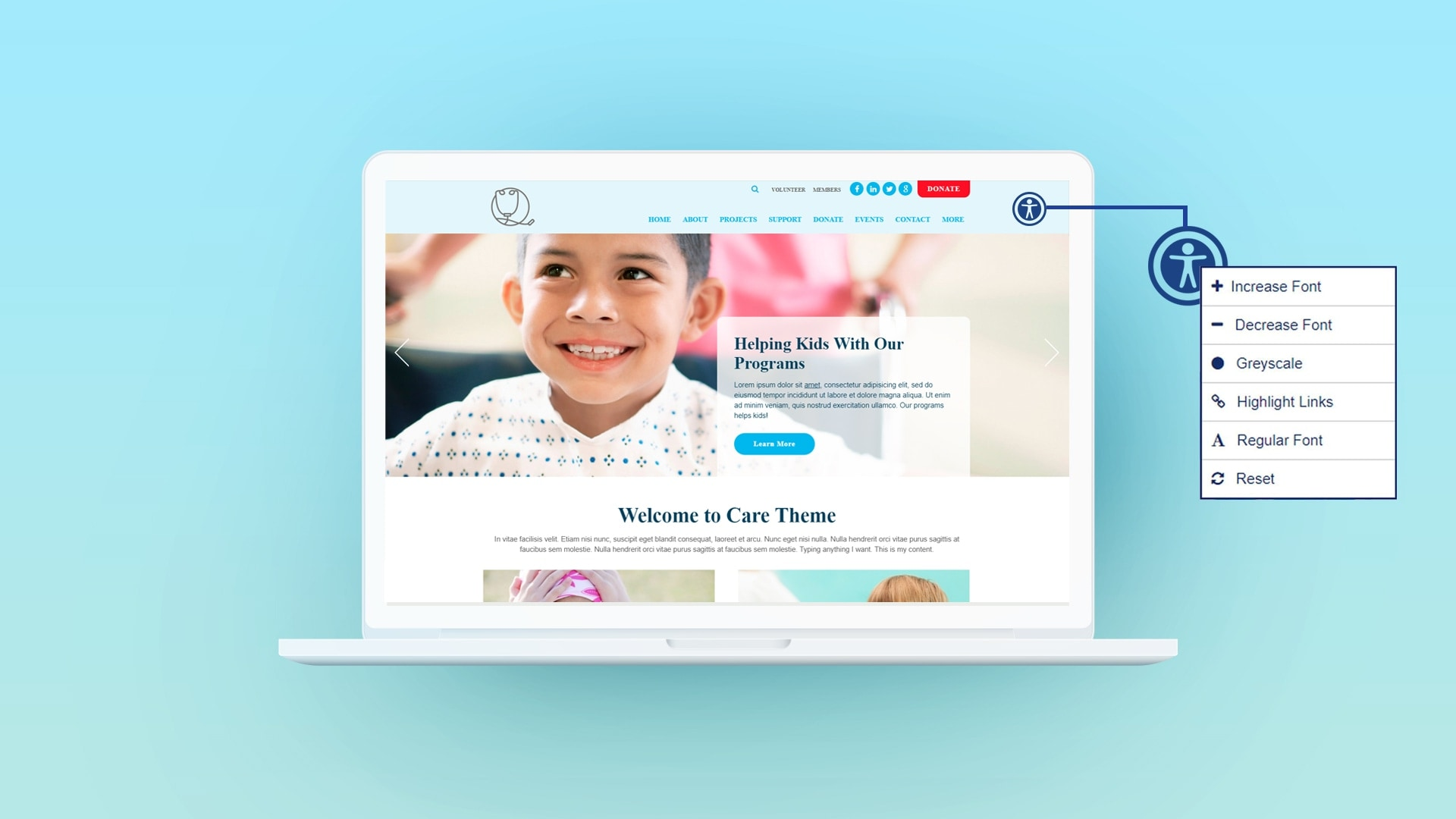 Accessible nonprofit website with Morweb widget