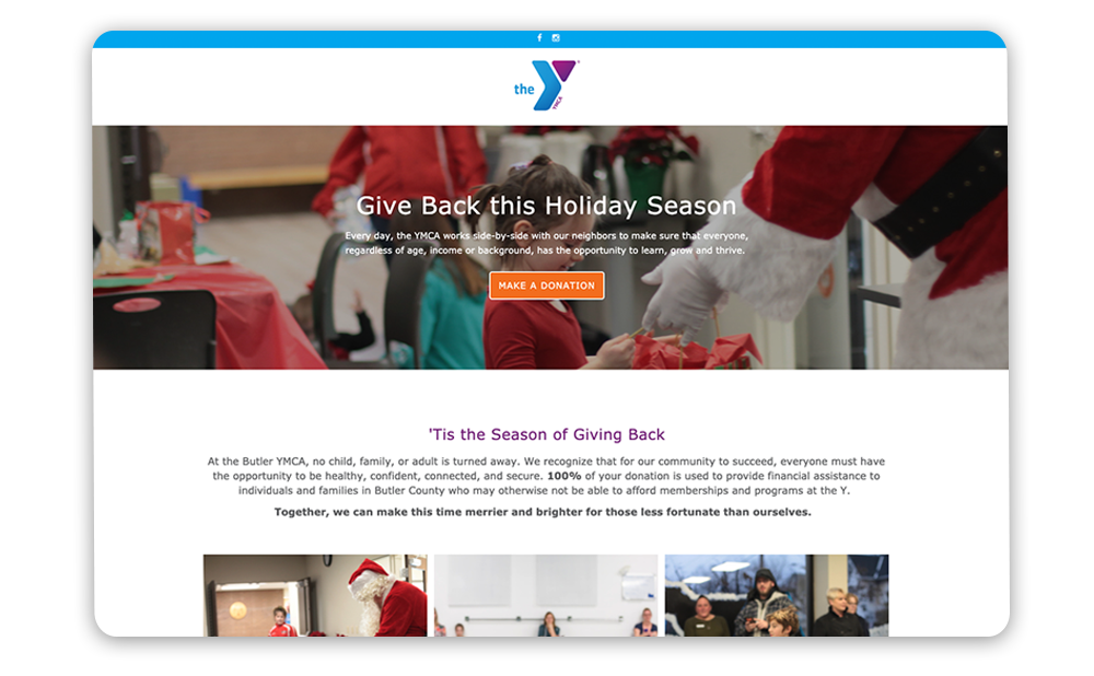 Example of a YMCA year-end giving landing page with the nonprofit's story