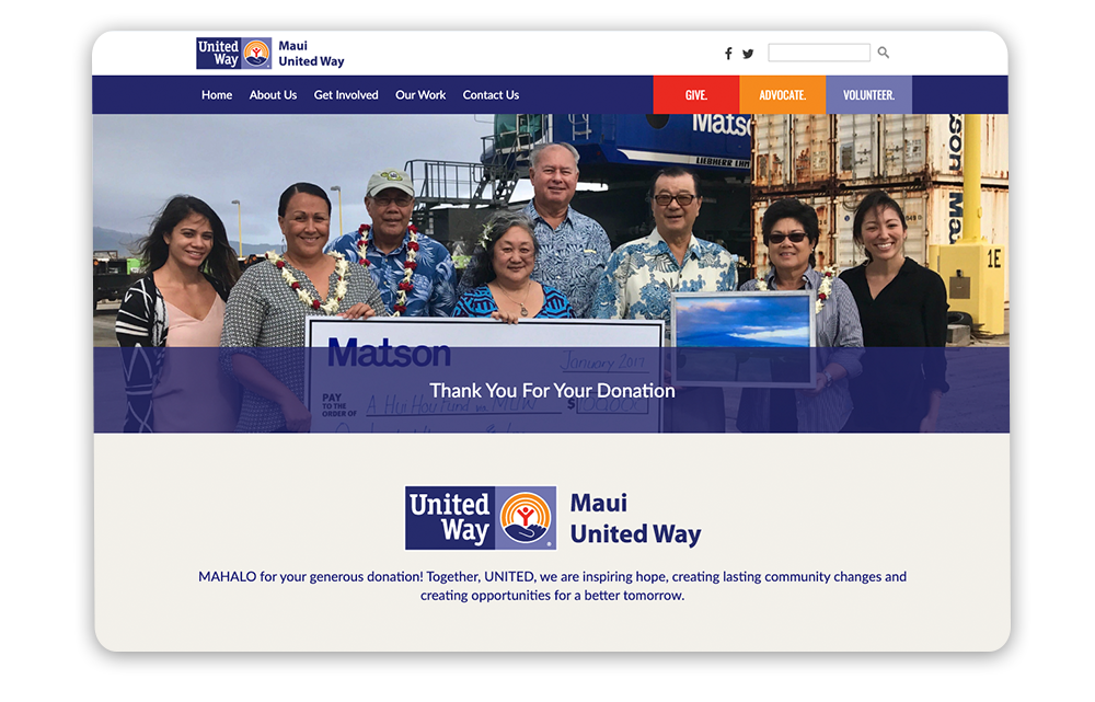 Example of a United Way year-end giving thank you page