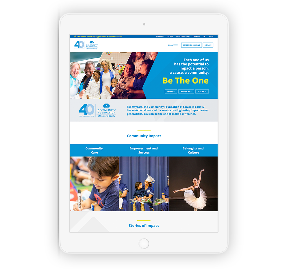 Example of a mobile-optimized nonprofit website for year-end giving